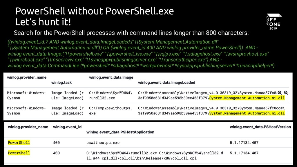 75 PowerShell without PowerShell.exe Let's hunt...