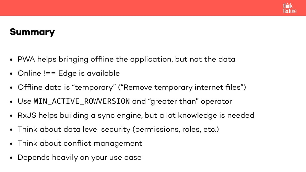 • PWA helps bringing offline the application, bu...