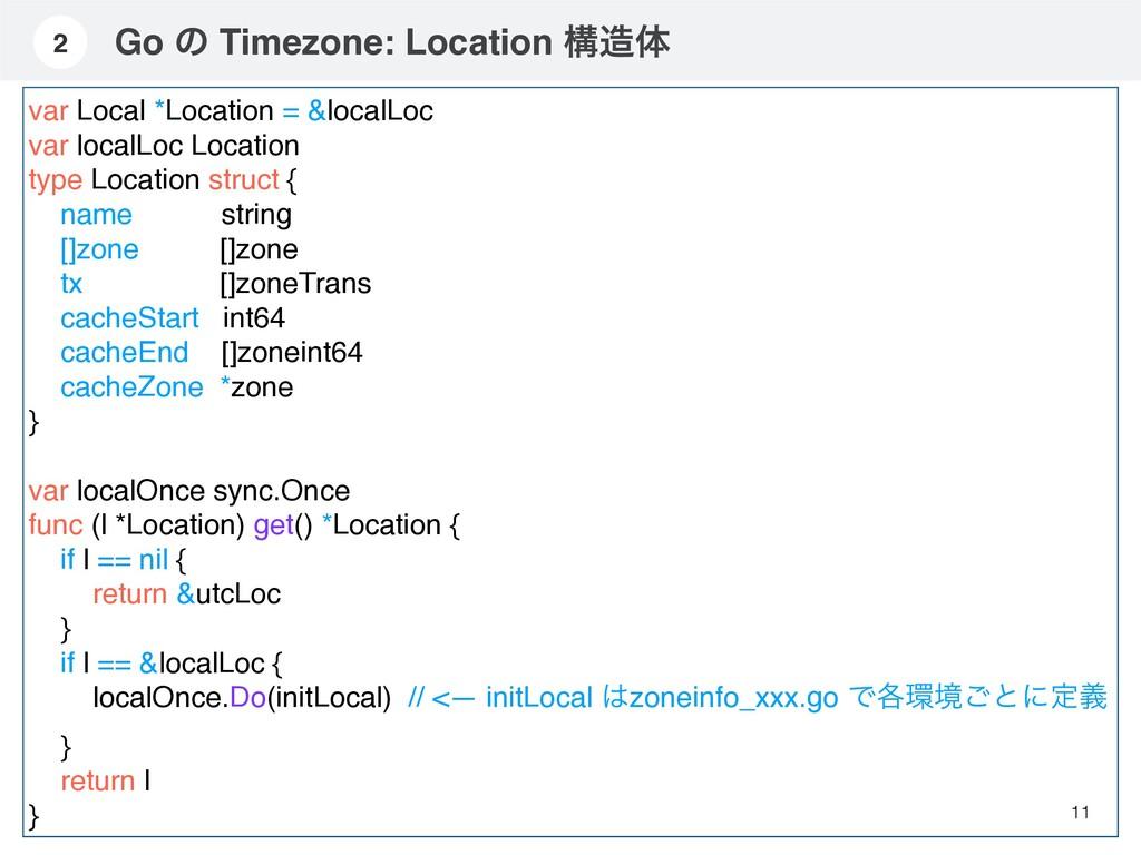 Go ͷ Timezone: Location ߏମ 11 2 var Local *Loc...