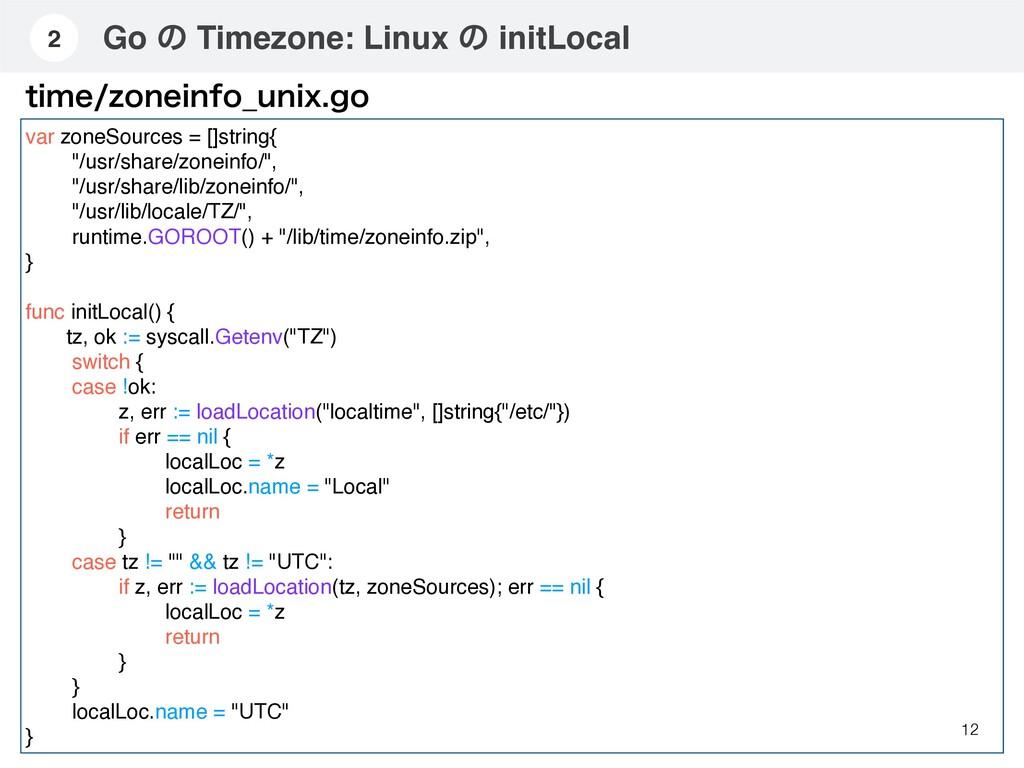 Go ͷ Timezone: Linux ͷ initLocal 12 2 var zoneS...
