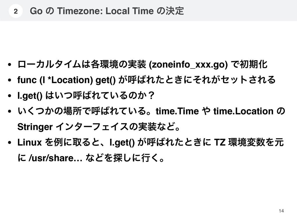 Go ͷ Timezone: Local Time ͷܾఆ 14 2 • ϩʔΧϧλΠϜ֤...