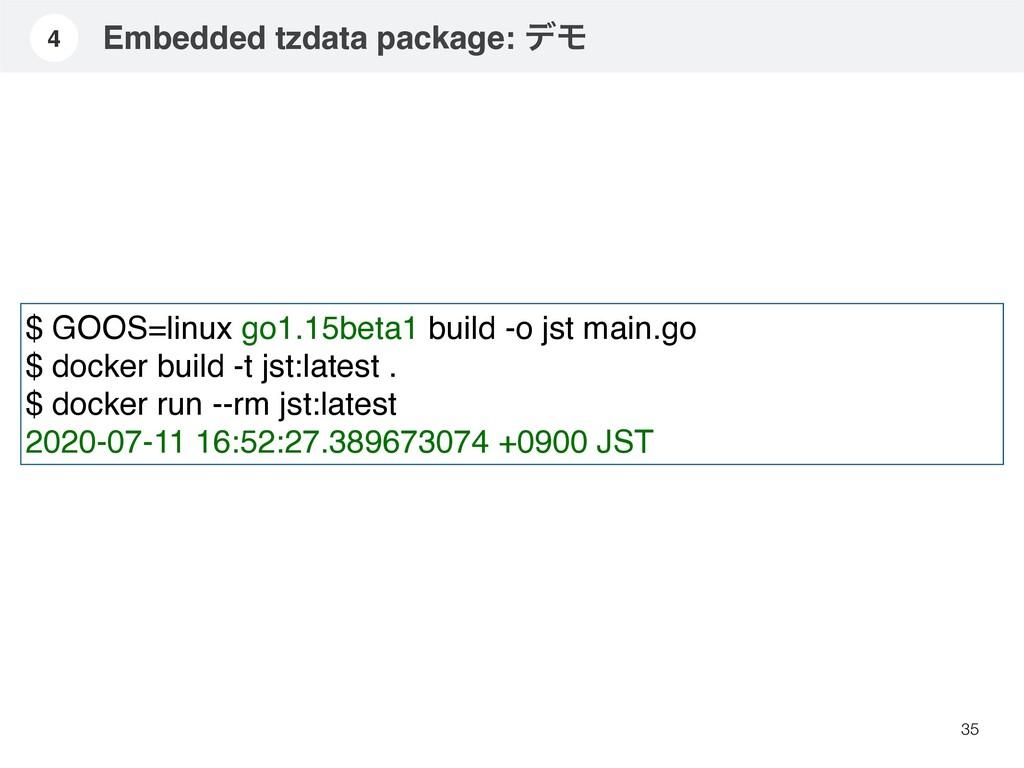 35 $ GOOS=linux go1.15beta1 build -o jst main.g...