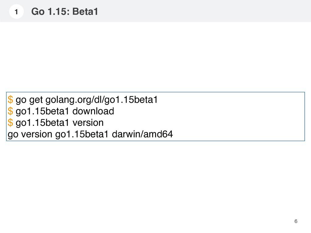 Go 1.15: Beta1 6 1 $ go get golang.org/dl/go1.1...