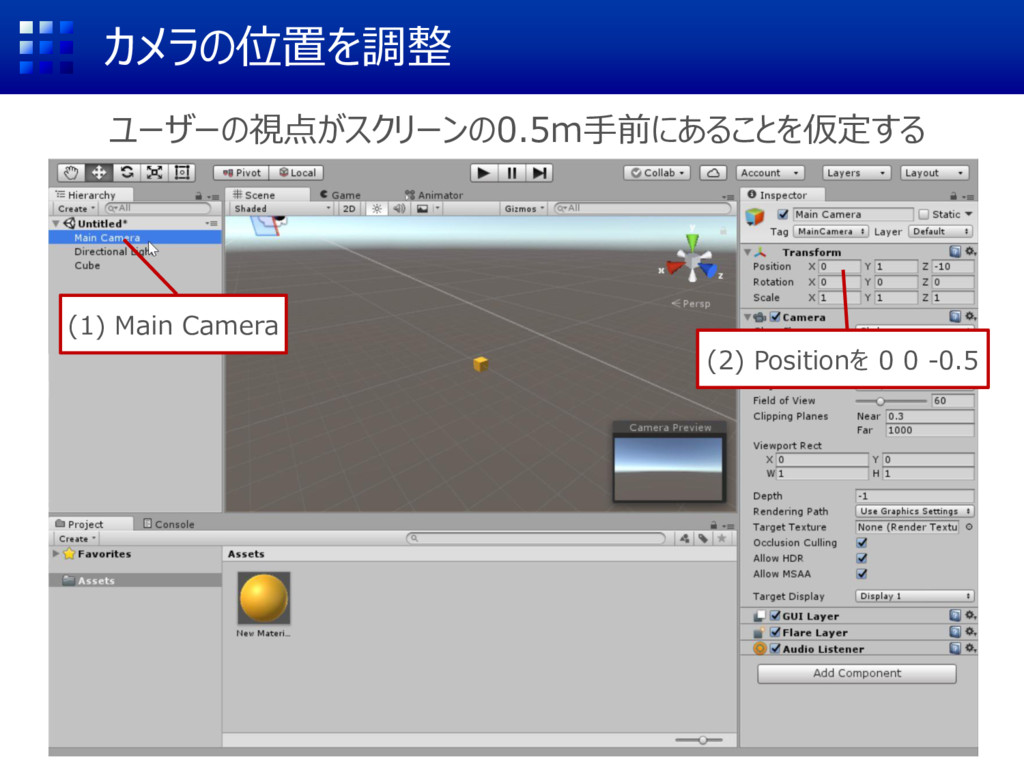 カメラの位置を調整 ユーザーの視点がスクリーンの0.5m手前にあることを仮定する (1) Ma...