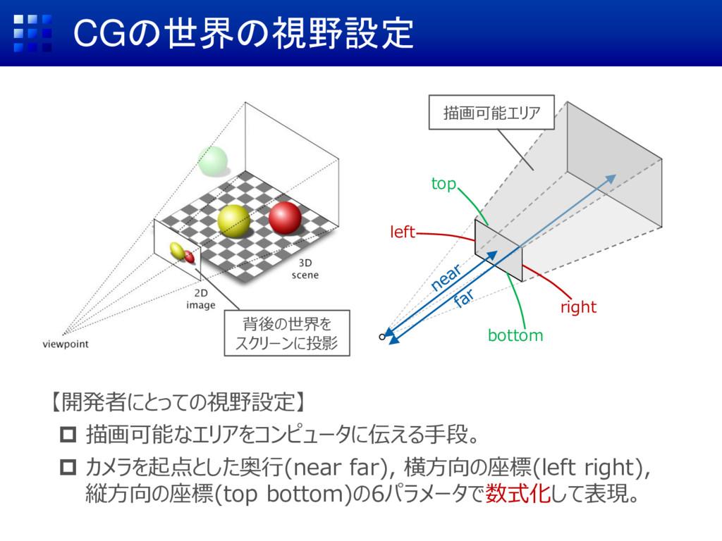CGの世界の視野設定 【開発者にとっての視野設定】  描画可能なエリアをコンピュータに伝える...
