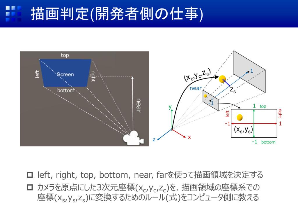 描画判定(開発者側の仕事)  left, right, top, bottom, near,...