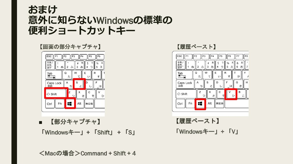 おまけ 意外に知らないWindowsの標準の 便利ショートカットキー ■ 【部分キャプチャ】 ...