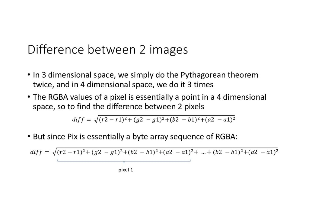 Difference between 2 images • In 3 dimensional ...
