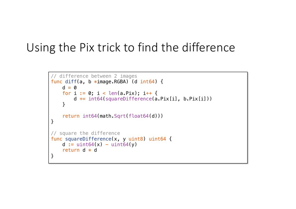Using the Pix trick to find the difference // d...