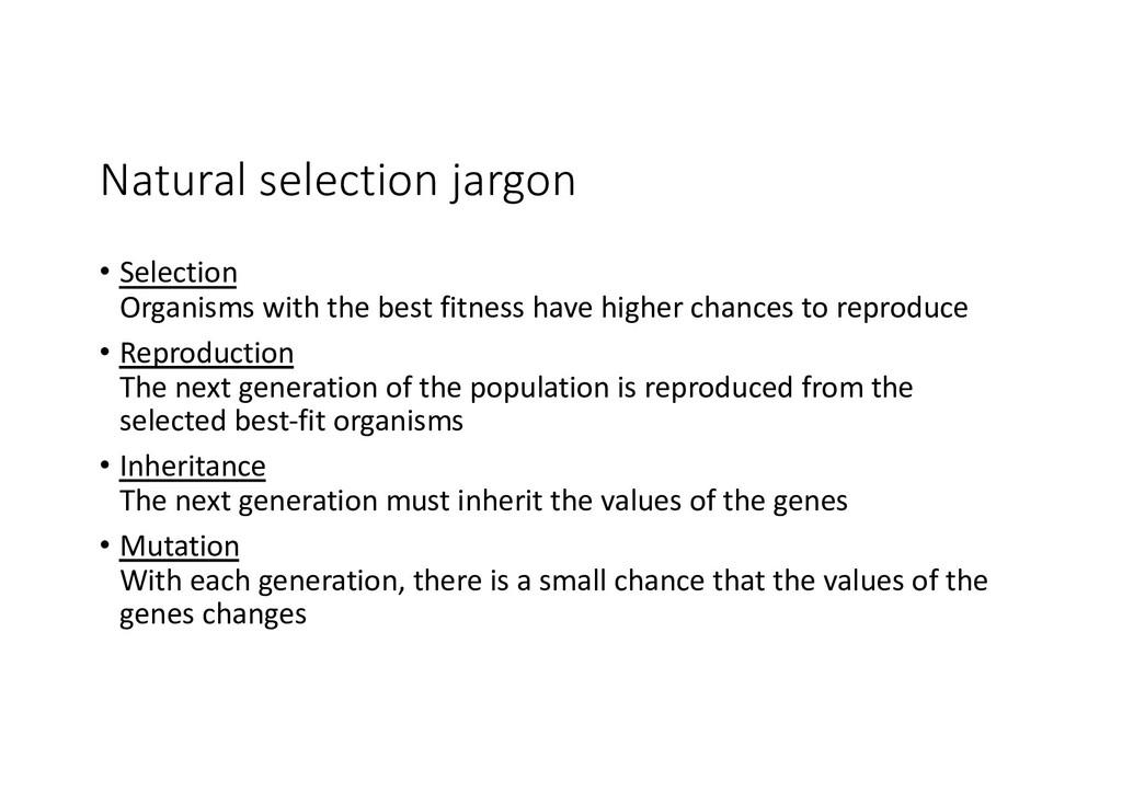 Natural selection jargon • Selection Organisms ...
