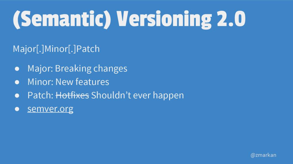 @zmarkan (Semantic) Versioning 2.0 Major[.]Mino...