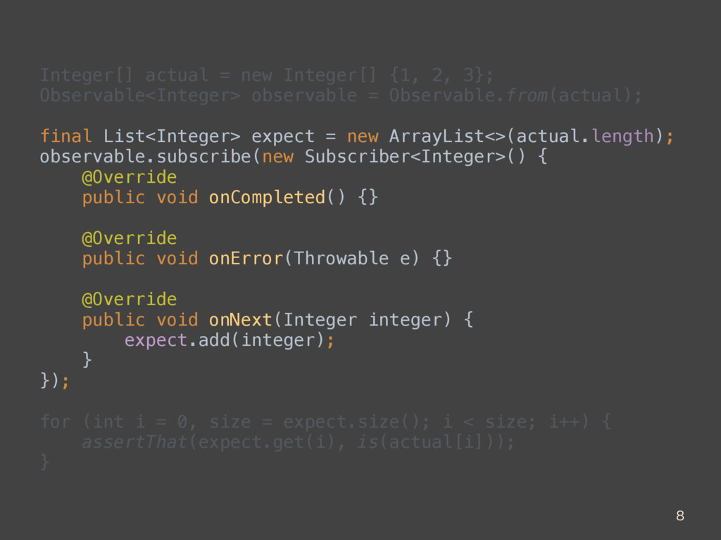 Integer[] actual = new Integer[] {1, 2, 3}; Ob...