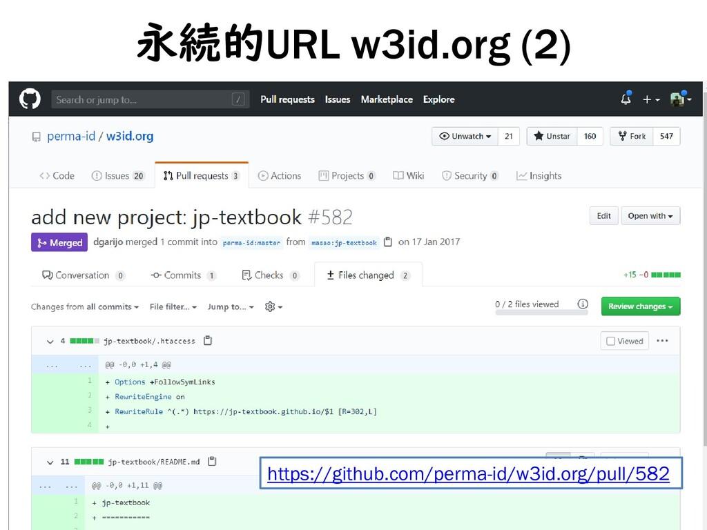 永続的URL w3id.org (2) 14 https://github.com/perma...