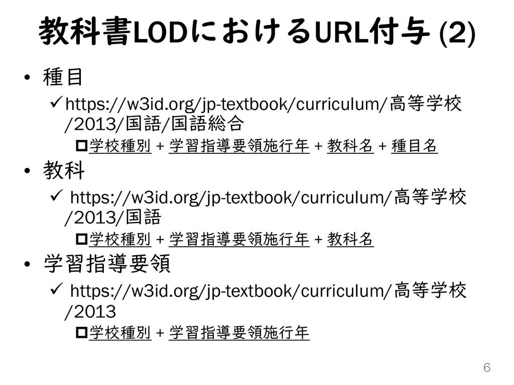 教科書LODにおけるURL付与 (2) • 種目 https://w3id.org/jp-t...