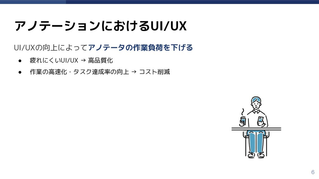 UI/UXの向上によってアノテータの作業負荷を下げる ● 疲れにくいUI/UX → 高品質化 ...