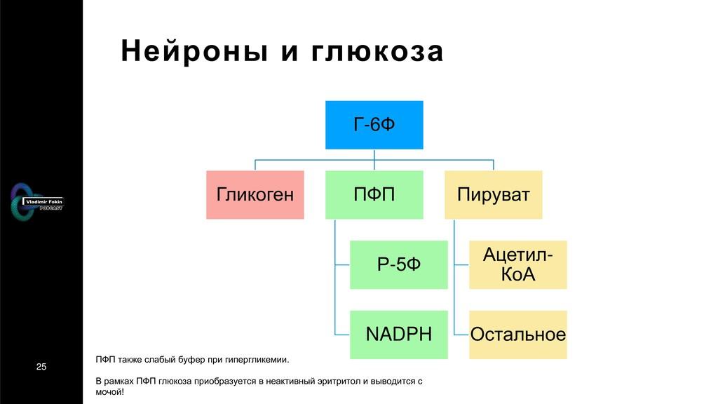 25 Нейроны и глюкоза Г-6Ф Гликоген ПФП Р-5Ф NAD...