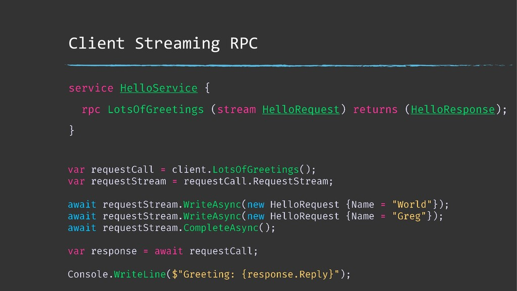 Client Streaming RPC