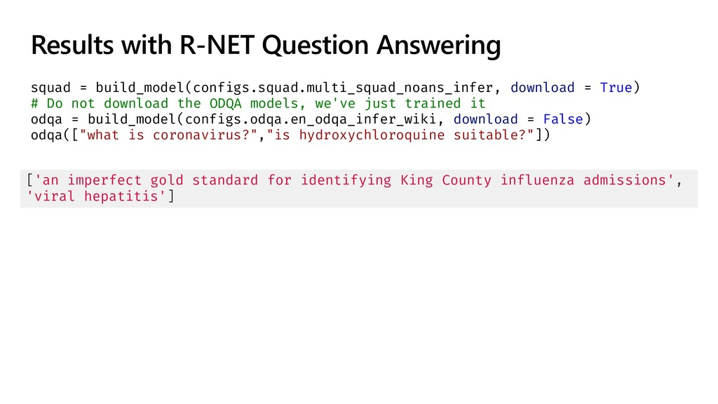 Results with R-NET Question Answering squad = b...