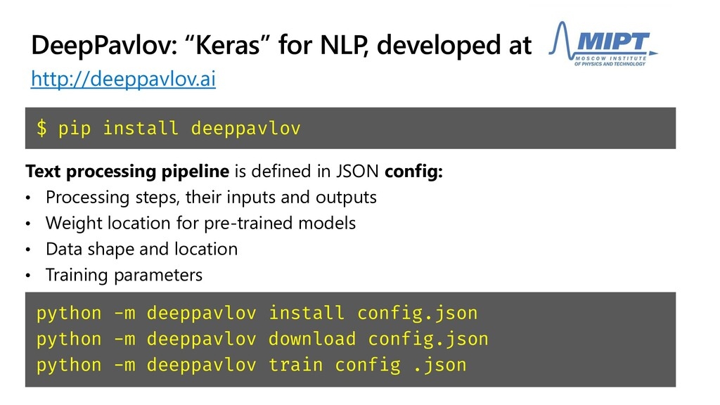 "DeepPavlov: ""Keras"" for NLP, developed at MIPT ..."