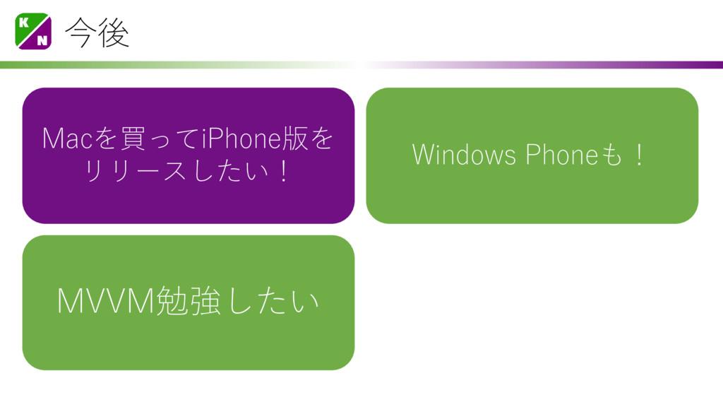 今後 Macを買ってiPhone版を リリースしたい! Windows Phoneも! MVV...