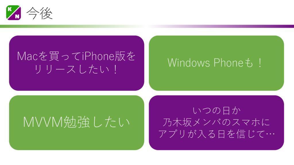 今後 Macを買ってiPhone版を リリースしたい! Windows Phoneも! いつの...