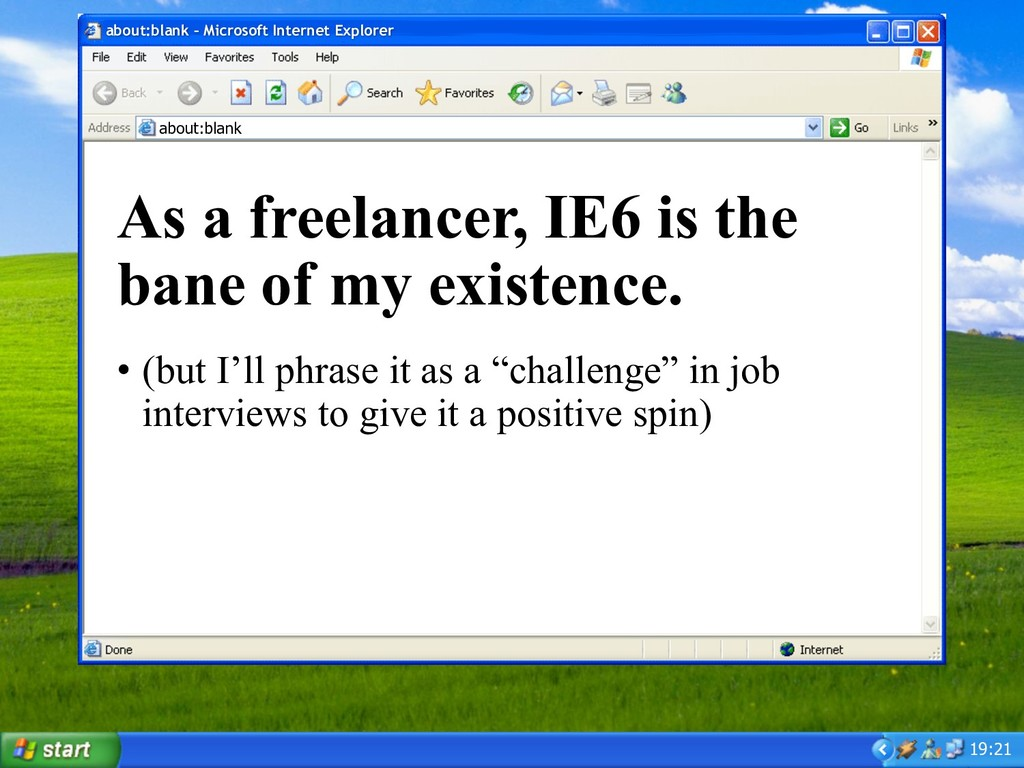19:21 about:blank – Microsoft Internet Explorer...