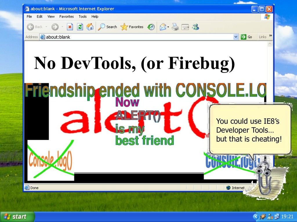 19:21 No DevTools, (or Firebug) about:blank – M...
