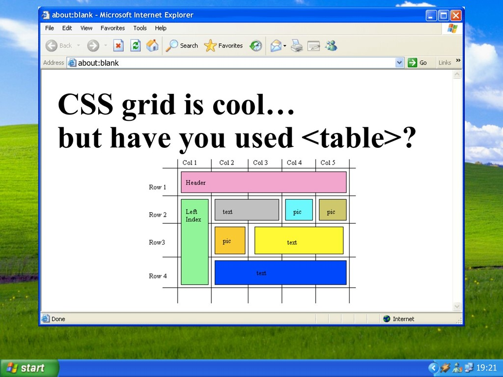 19:21 CSS grid is cool… but have you used <tabl...