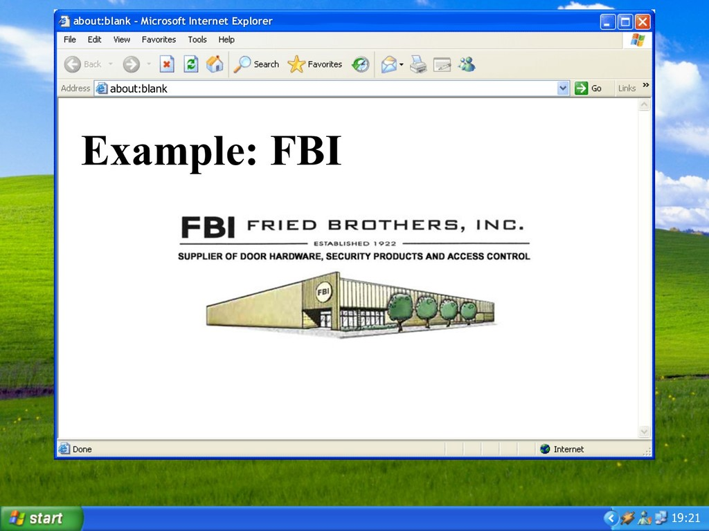 19:21 Example: FBI about:blank – Microsoft Inte...