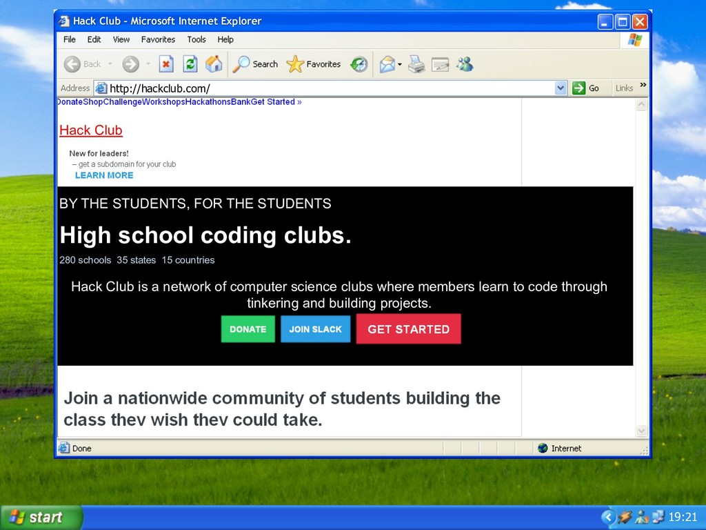 19:21 Hack Club – Microsoft Internet Explorer h...