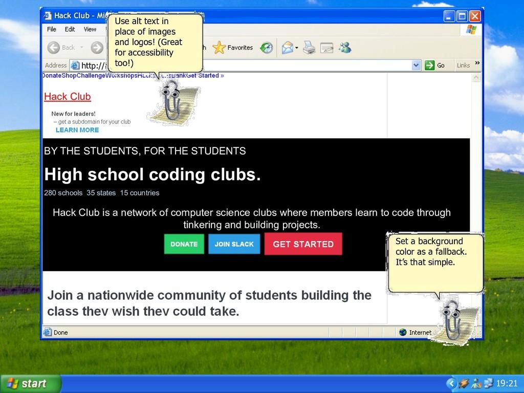 19:21 Hack Club – Microsoft Internet Explorer h...