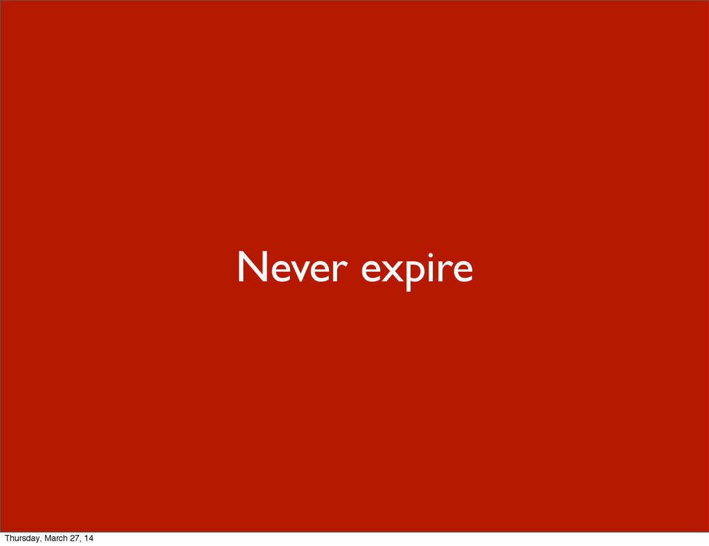 Never expire Thursday, March 27, 14