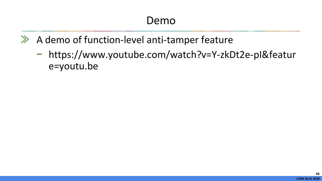CODE BLUE 2020 ≫ A demo of function-level anti-...
