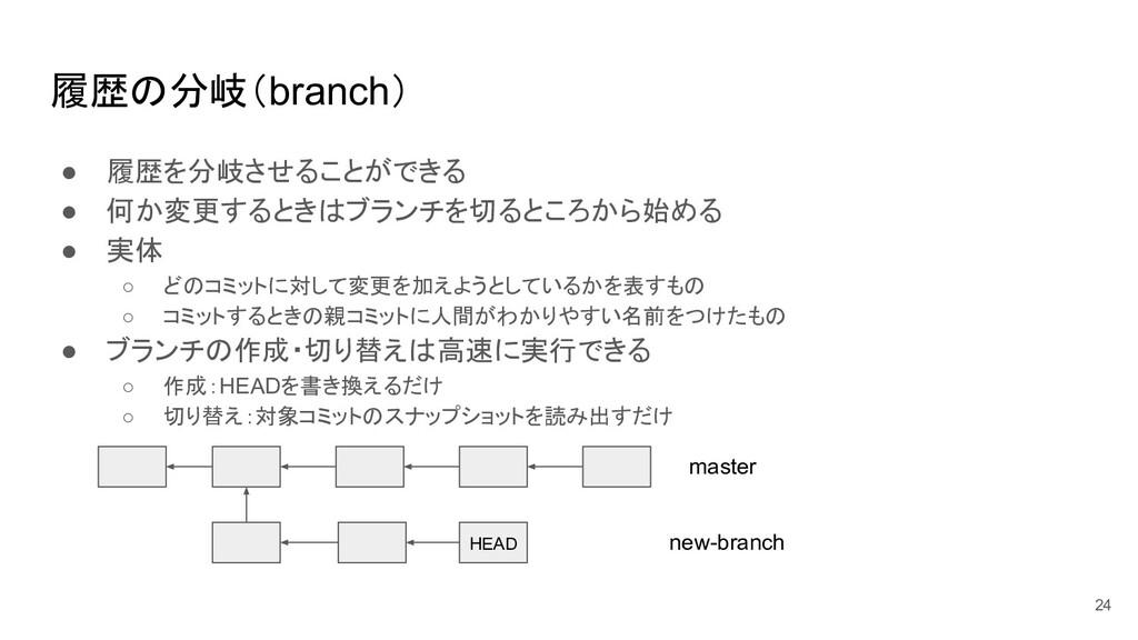 履歴の分岐(branch) ● 履歴を分岐させることができる ● 何か変更するときはブランチを...