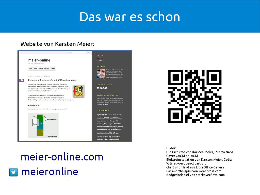 Das war es schon Website von Karsten Meier: Bil...