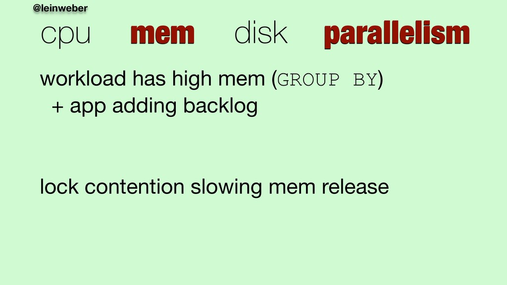 @leinweber cpu mem disk parallelism workload ha...
