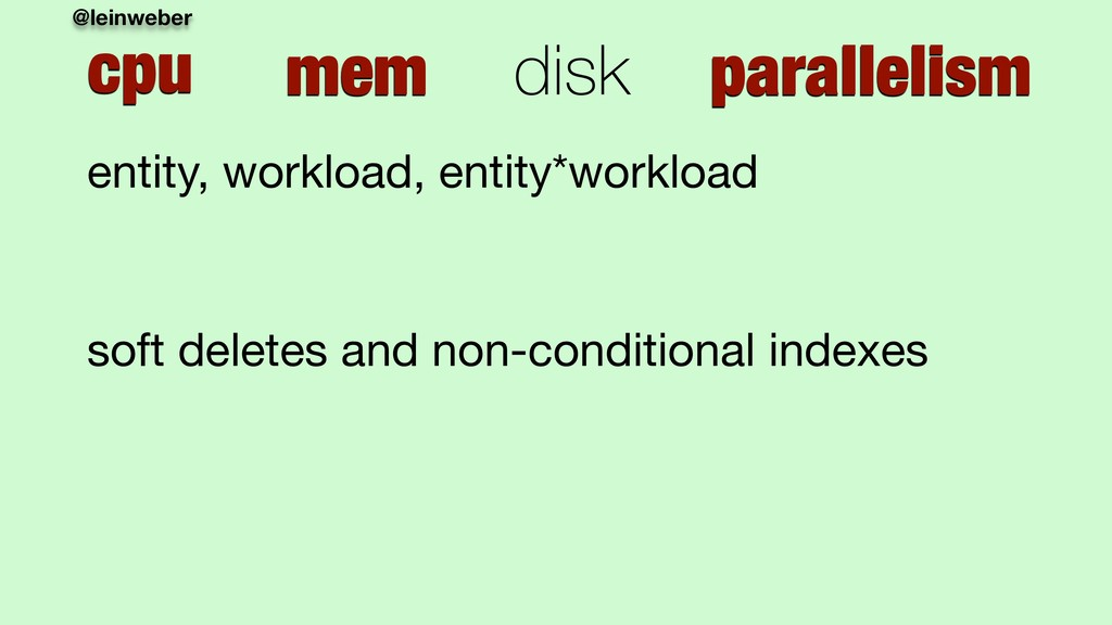 @leinweber cpu mem disk parallelism entity, wor...