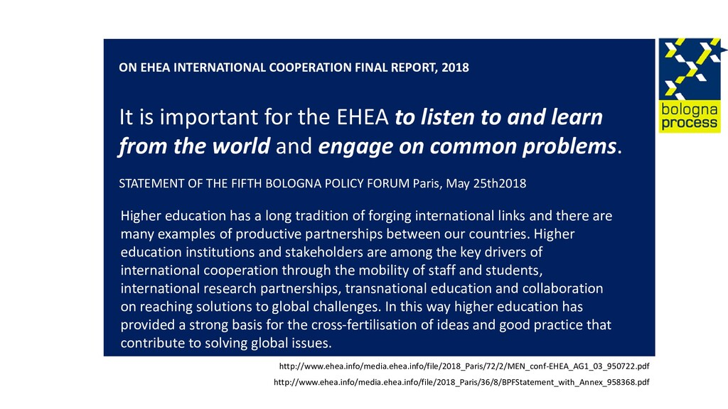 ON EHEA INTERNATIONAL COOPERATION FINAL REPORT,...