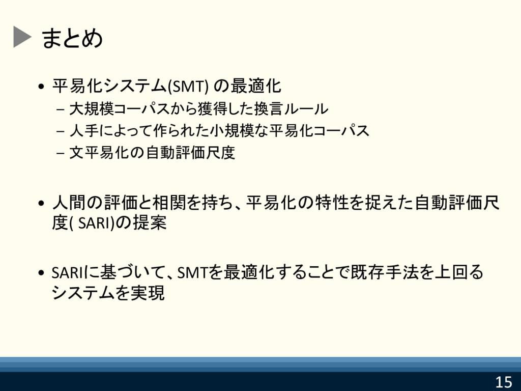 15 15 まとめ • 平易化システム(SMT) の最適化 – 大規模コーパスから獲得した換言...