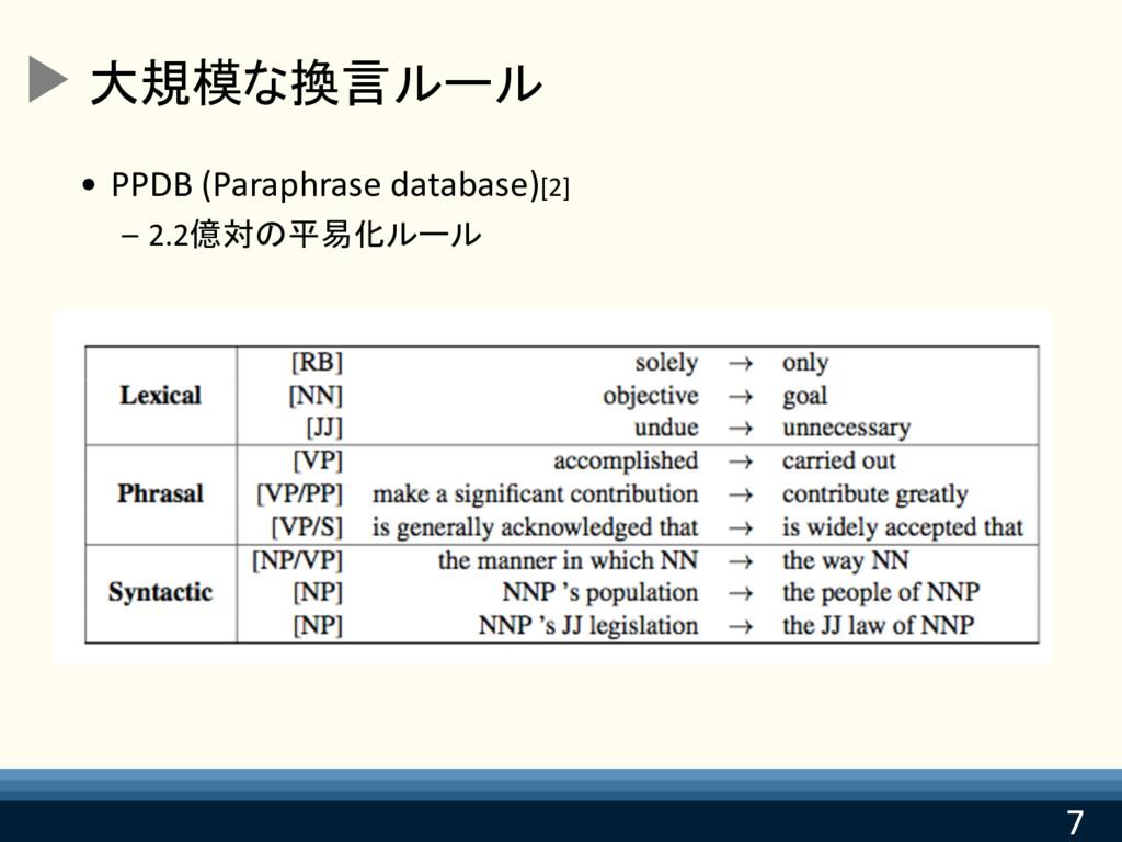 7 7 大規模な換言ルール • PPDB (Paraphrase database)[2] –...
