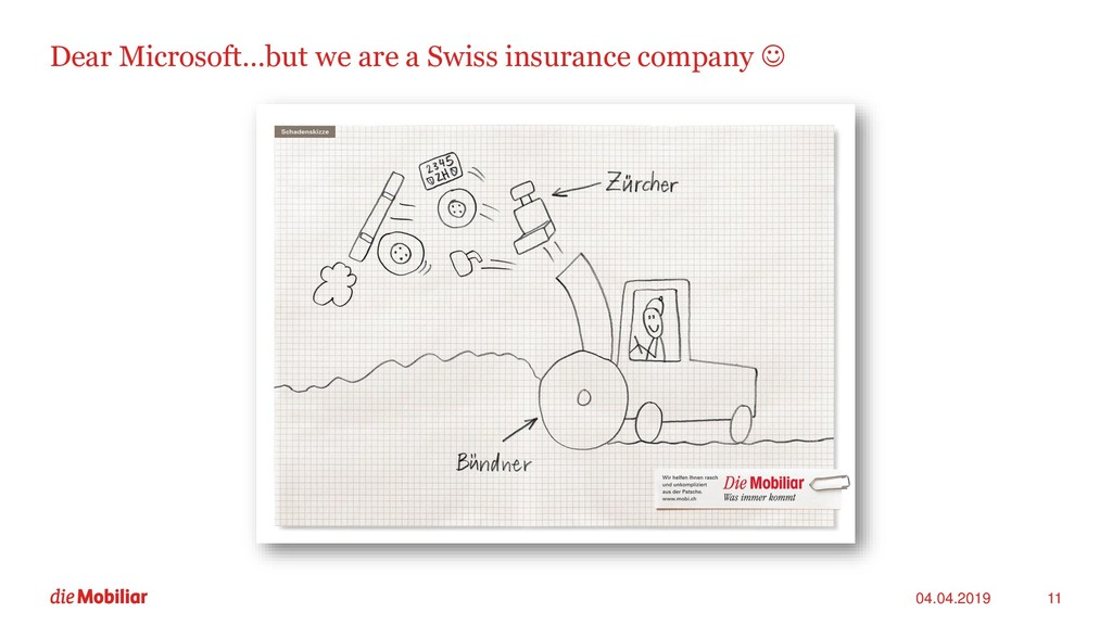 Dear Microsoft…but we are a Swiss insurance com...