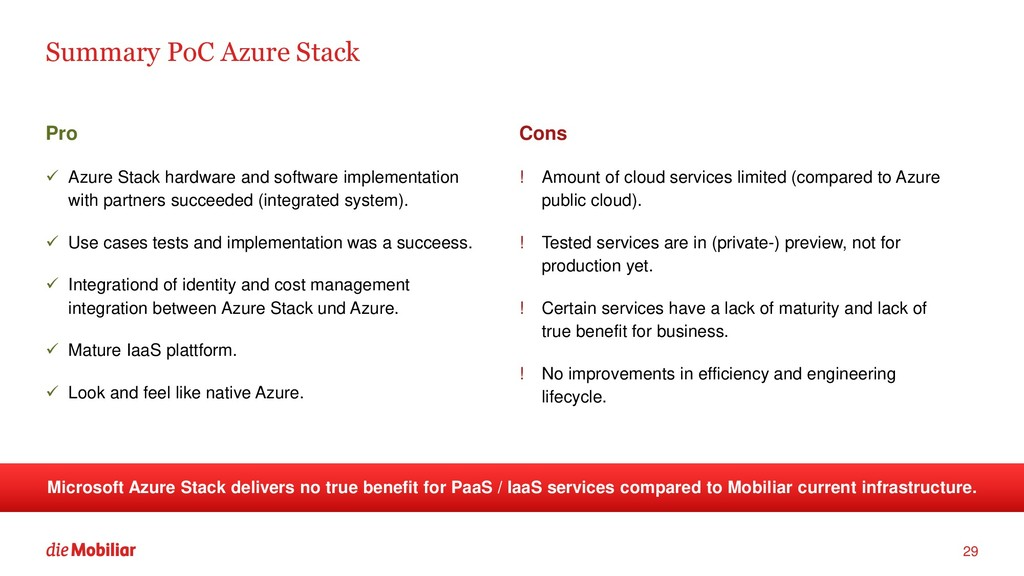 Summary PoC Azure Stack Pro ✓ Azure Stack hardw...