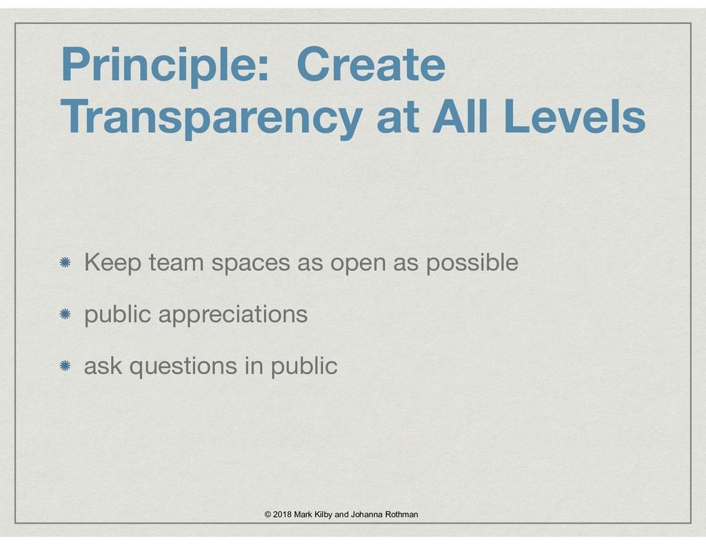 Principle: Create Transparency at All Levels Ke...
