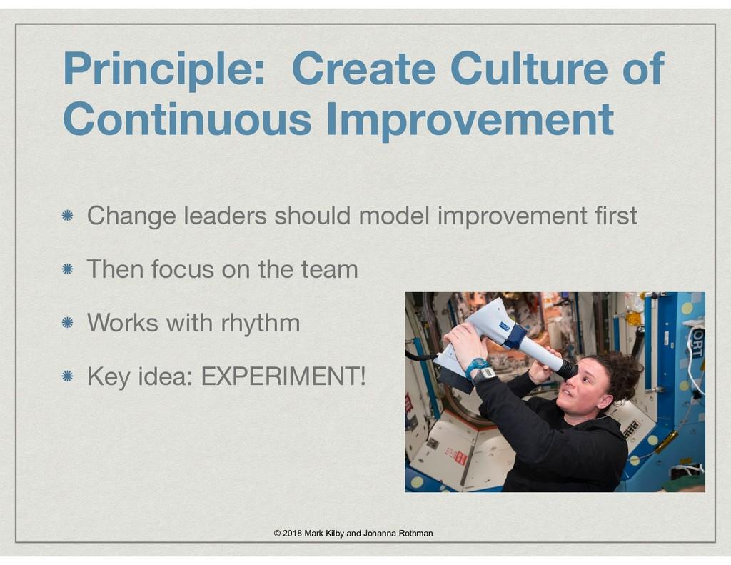Principle: Create Culture of Continuous Improve...