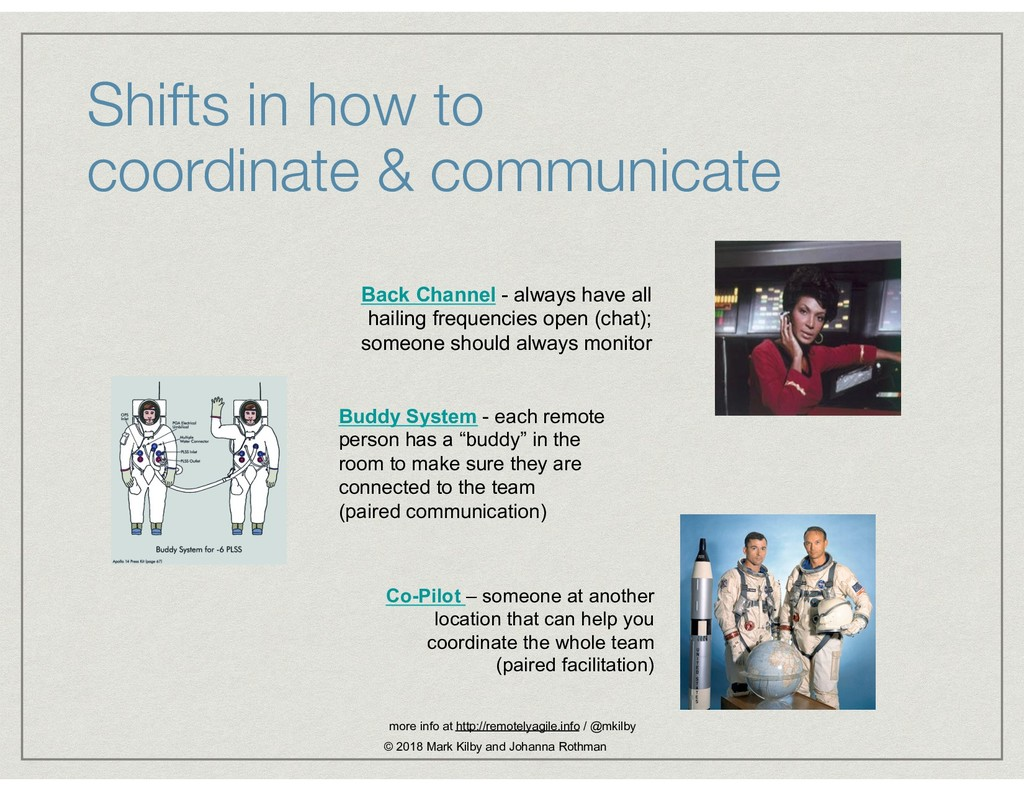 Shifts in how to  coordinate & communicate Bac...