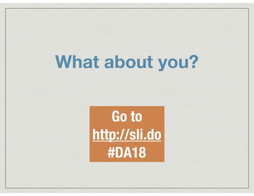 What about you? Go to http://sli.do #DA18