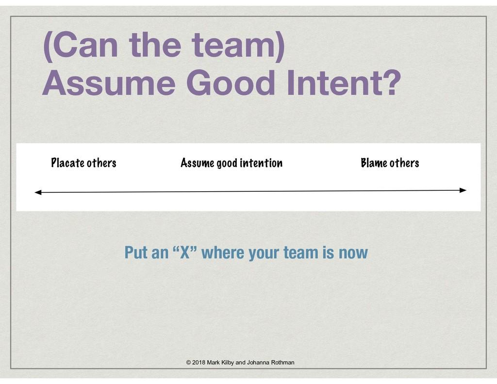 """(Can the team)  Assume Good Intent? Put an """"X""""..."""