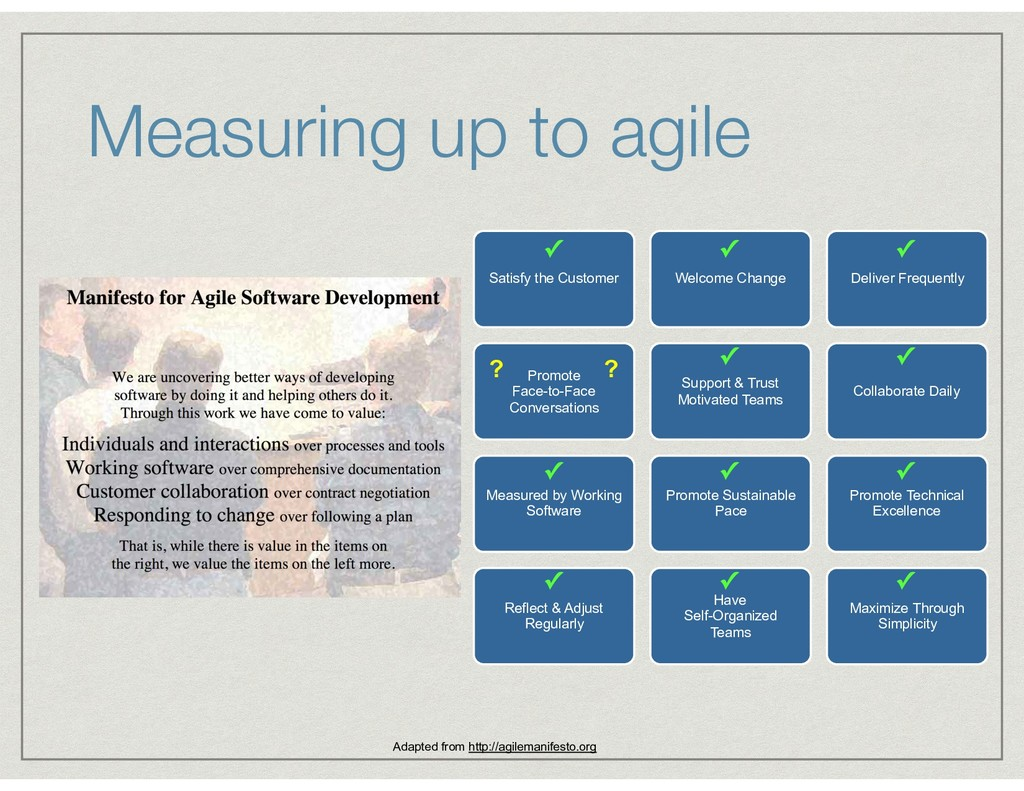 Measuring up to agile Satisfy the Customer Welc...