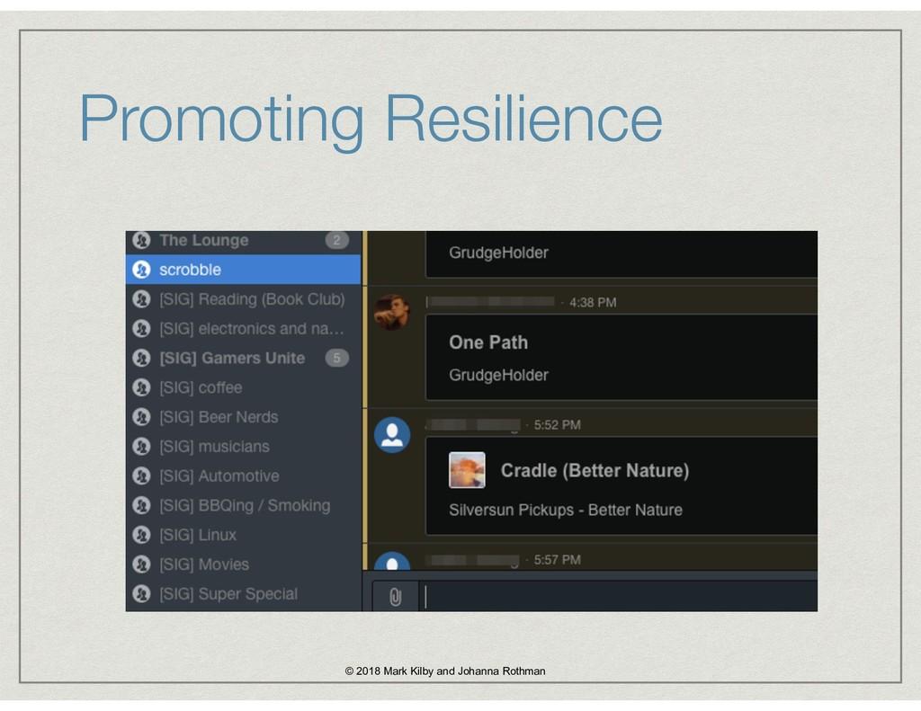 Promoting Resilience © 2018 Mark Kilby and Joha...