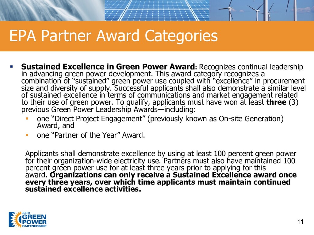 § Sustained Excellence in Green Power Award: Re...
